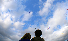 Kite flying couple
